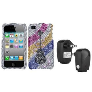 Insten Ribboned Guitar Diamante Case For iPhone 4 4S + USB Travel Charger Adapter