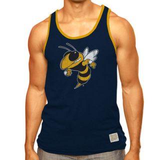 Georgia Tech Yellow Jackets Original Retro Brand Contrast Binding Cotton Tank Top   Navy Blue