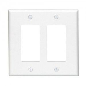Leviton 80609 W Electrical Wall Plate, Midway Size Decora, 2 Gang   White
