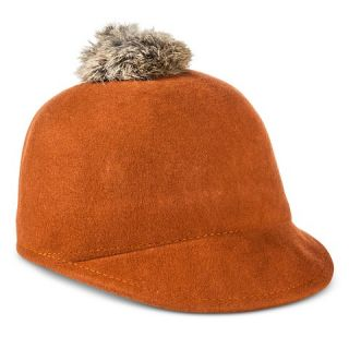 Girls Wool Riding Hat with Pom   Rust Brown
