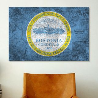 iCanvas Boston, Massachusetts Flag, Grunge Vintage Map Graphic Art on