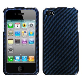 INSTEN Racing Fiber/ Blue/ Silver Phone Case Cover for Apple iPhone 4S