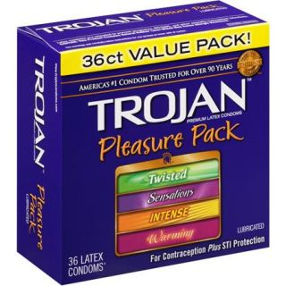 Trojan Pleasure Pack Lubricated Latex Condoms, 36ct
