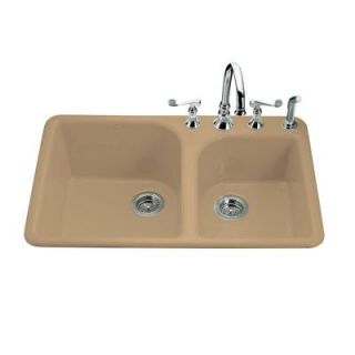 KOHLER Executive Chef Self Rimming Cast Iron 33x22x10.625 4 Hole Kitchen Sink in Mexican Sand DISCONTINUED K 5932 4 33