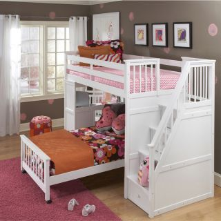 NE Kids School House Stair Loft with Desk End and Twin Lower Bed
