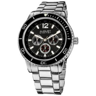 August Steiner Mens Japanese Quartz Multifunction Divers Bracelet