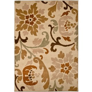 allen + roth Tranquility 94 in x 120 in Rectangular Cream/Beige/Almond Floral Area Rug
