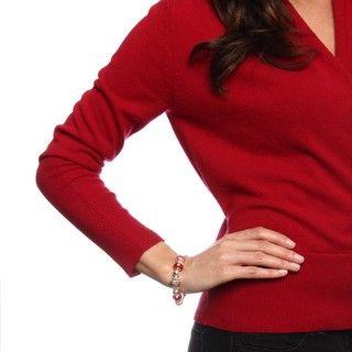 La Preciosa Silverplated 7.5 inch Red Bead Charm Bracelet