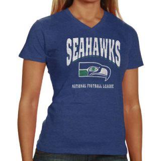 47 Brand Seattle Seahawks Ladies V Neck Scrum T Shirt   College Navy