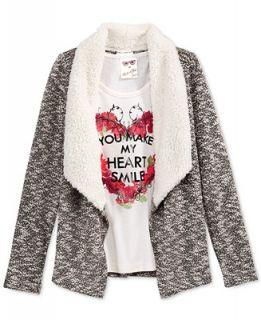 Self Esteem Girls 2 Piece Tank & Sweater with Faux Fur Trim Set