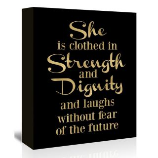 She is Clothed Strength Gold on Black Textual Art on Wrapped Canvas by