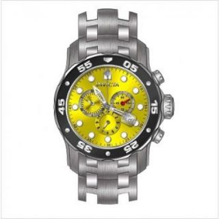 Invicta Pro Diver Chronograph Yellow Dial Stainless Steel Mens Watch