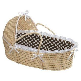 Badger Basket Hooded Moses Basket   Brown/White Polka Dot