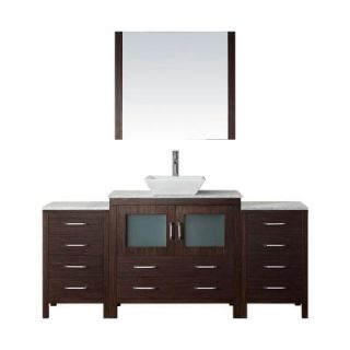 Virtu USA Dior 72 in. W x 18.3 in. D Vanity in Espresso with Marble Vanity Top in White with White Basin and Mirror KS 70072 WM ES