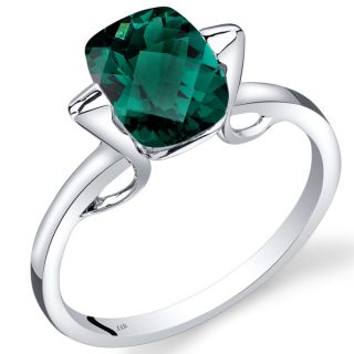 Oravo 14k White Gold 2ct TGW Created Emerald Solitaire Ring   19347125