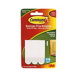 3M Command Damage Free Picture Hanging Strips Medium White Pack Of 3