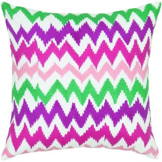 Rizzy Home Ivory And Pink ChevronsSquare Pillow Cover