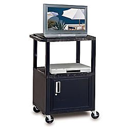 H. Wilson Plastic Utility Cart With Locking Cabinet 42 H x 24 W x 18  Black