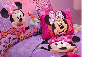 Disney Minnie Mouse 4 Piece Toddler Bedding Set   Pink and Purple Floral Print    Disney