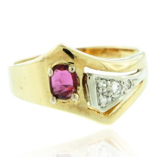 10k Gold 1 1/10ct TDW Round Diamond and Oval Ruby Engagement Ring (I J
