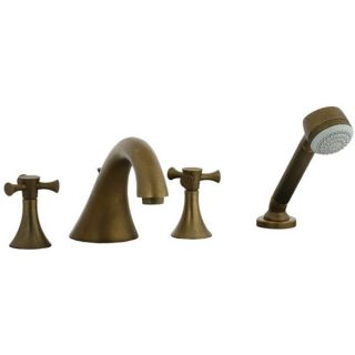 Cifial 246.645.V05 Brookhaven 4 Pieces Double Cross Handle Roman Tub Trim in Aged Brass