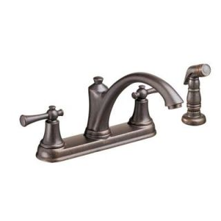 American Standard Portsmouth 2 Handle Standard Kitchen Faucet with Side Sprayer in Oil Rubbed Bronze 4285501F15.224