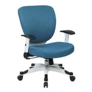 Managers Chair with Padded Mesh Seat and Back, Height Adjustable Flip Arms and Coated Nylon Base Color:Blue