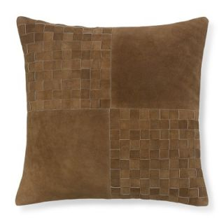 Suede Woven Panel Pillow Cover, Saddle