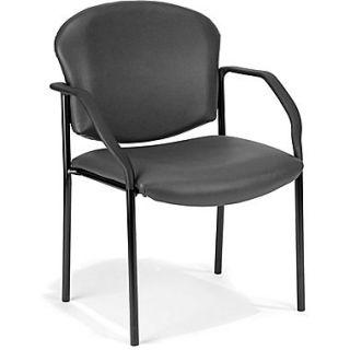 OFM Manor Steel Guest/Reception Chair, Vinyl, Charcoal (404 VAM 604)