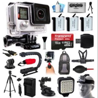 GoPro HERO4 Hero 4 Black Edition 4K Action Camera Camcorder with 16GB MicroSD, 3x Battery, Charger, Backpack, Chest Harness, Action Hand Handle, Tripod, Car Mount, LED Light, Head Strap CHDHX 401