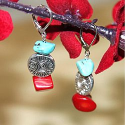 Silverplated Deep Sea Dive Turquoise and Red Coral Earrings