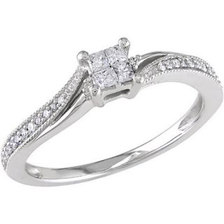 Miabella 1/5 Carat T.W. Princess  and Round Cut Diamond 10kt White Gold Bypass Engagement Ring