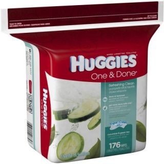 HUGGIES One & Done Refreshing Cucumber & Green Tea Baby Wipe Refill, 176 count