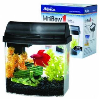 Aqueon Mini Bow 1 Black Desktop Aquarium Kit, 8.5 Inch Height x 6.2 Inch Width x 9.2 Inch Length