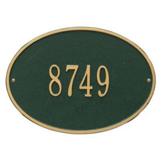 Whitehall Products Cape Charles Standard Rectangular Green/Gold Wall 2 Line Address Plaque 1176GG