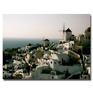 Windmill Sunset in Santorini Gallery wrapped Canvas Art
