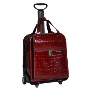 Siamod Novembre Ladies Vertical Detachable Wheeled Italian Crocco Leather Laptop Case  Cherry Red