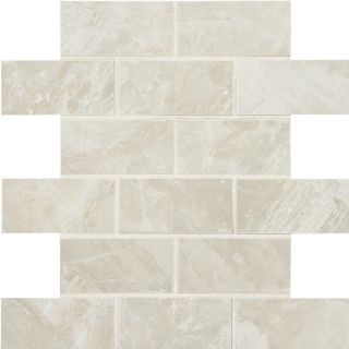 American Olean Mirasol 12 Pack Silver Marble Brick Mosaic Porcelain Floor and Wall Tile (Common: 12 in x 12 in; Actual: 11.87 in x 11.87 in)