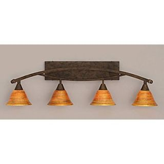 Toltec Lighting Bow 4 Light Bath Bar; Bronze