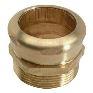 BrassCraft 1 1/2 in. O.D. Comp x 1 1/2 in. MIP (1 1/2 in. I.D. Female Sweat) Brass Waste Connector with Tube Stop with Rough Finish 196CX