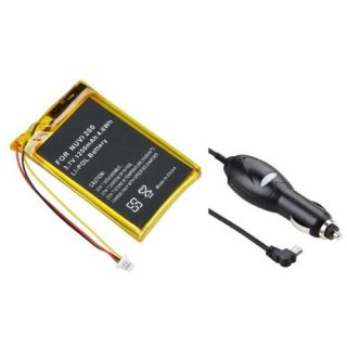 Insten 1250mAh li ion Battery Pack + Car Charger For Garmin Nuvi 200 200W 205 205T 250 260 270 710 750 760 770 780