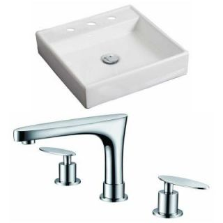 American Imaginations Square Vessel Sink Set in White with 8 in. O.C. cUPC Faucet AI 15065