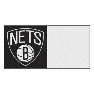 FANMATS NBA   Brooklyn Nets Black and White Pattern 18 in. x 18 in. Carpet Tile (20 Tiles/Case) 9344