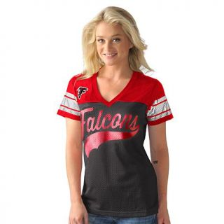 Officially Licensed NFL For Her Pass Rush Jersey Tee by Glll   Falcons   8079230