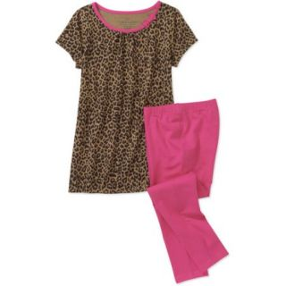 Faded Glory Little Girls' 2 Piece A line Short Sleeve Top and Legging Set