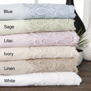 600 Thread Count Lace Cotton Blend Sheet Set King Blue