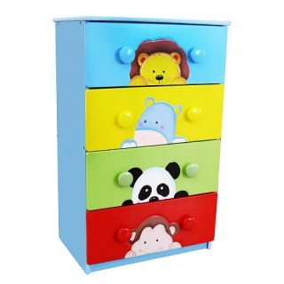 Fantasy Fields Sunny Safari 4 Drawer Cabinet with 8 Handles    Teamson Design Corp
