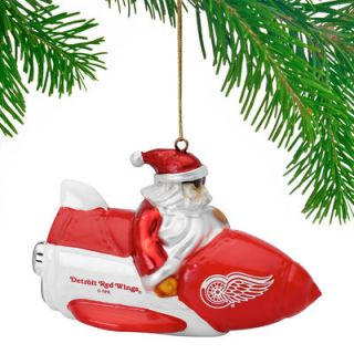 Detroit Red Wings Santa Gets There Rocket Ornament
