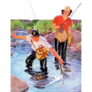 Netting a Fish by R.J. Cavaliere Painting Print on Wrapped Canvas by