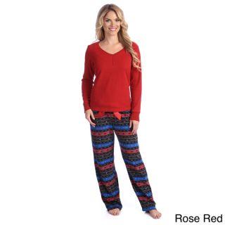 Jasmine Rose Womens Thermal and Fleece 2 piece Pajama Set